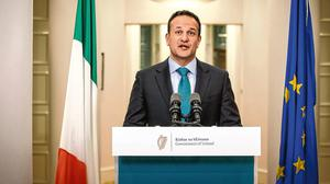 Historic: Taoiseach Leo Varadkar delivers his address to the nation concerning the coronavirus crisis. Photo: Mark Condren