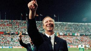 Republic of Ireland manager Jack Charlton after the World Cup 1990 Group F match between Republic of Ireland and Netherlands in Palermo, Italy, on June 21, 1990. Photo: Ray McManus/Sportsfile