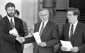 From left, Gerry Adams, Albert Reynolds and John Hume in 1994 after the announcement of the first IRA ceasefire