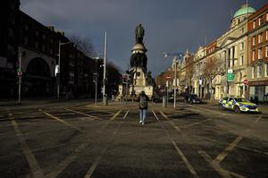 Covid-19 emergency measures empty O'Connell Street in Dublin. Photo: Reuters/Clodagh Kilcoyne