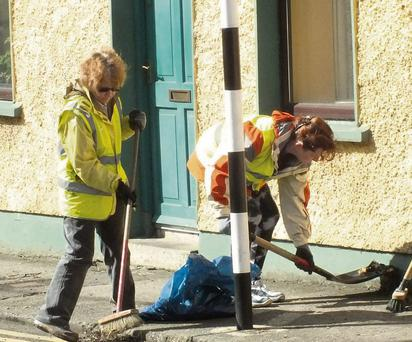 Tidy Towns volunteers at work on the streets of Mallow.