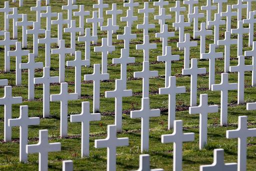 Crosses are seen at the cemetery outside the WWI Douaumont ossuary near Verdun, northeastern France. Reuters