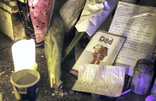 Messages and cards in the doorway where Jonathan Corrie died on Molesworth Street, Dublin. Photo: Frank Mc Grath