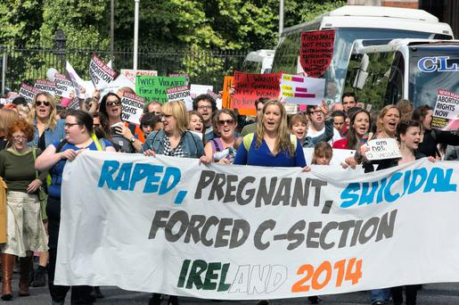 A pro-choice protest march on Dublin's O'Connell Street last year