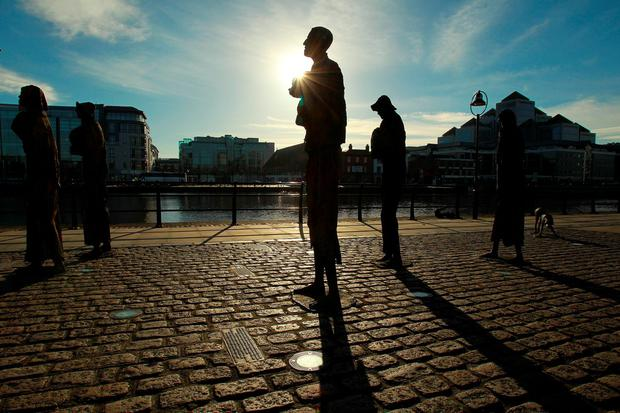 Statues commemorating the Great Famine by the River Liffey in Dublin