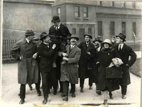 Sean Lemass is feted by supporters following his by-election victory in 1924. 'Future Taoiseach Lemass was far from economically illiterate'.