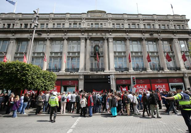 Workers protesting outside Clerys department store last June