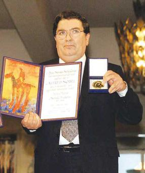 John Hume receiving the Nobel Peace Prize