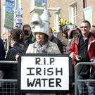 Anti-water charge protesters at the Dáil yesterday. Picture: Justin Farrelly
