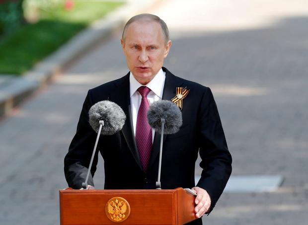 Russian President Vladimir Putin. 'The militarisation of Europe in order to encircle Russia presents a huge threat to humanity'