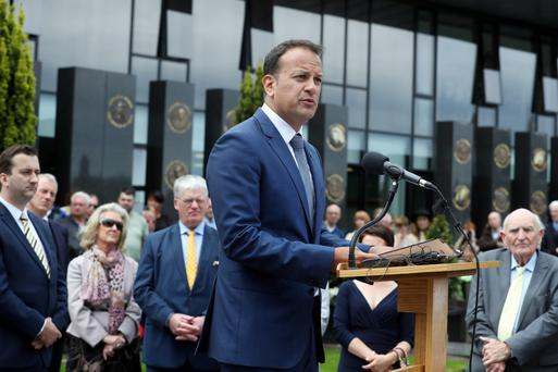 Minister Leo Varadkar speaks at Glasnevin Cemetery on Sunday. Photo: Maxwell Photography
