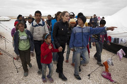 Actress Angelina Jolie visits the Zaatari Refugee Camp, Jordan, in 2012 in her capacity as a UNHCR special envoy. Photo: J Tanner/Getty
