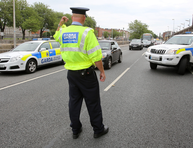 A Garda checkpoint in Dublin city