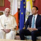 Taoiseach Leo Varadkar with Pope Francis in August, during his visit to Dublin Castle. Picture: Arthur Carron