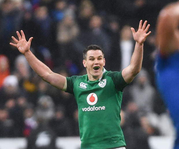 World beater: Johnny Sexton celebrates after kicking the winning drop goal in Paris on February 3 last. Photo: Sportsfile