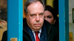 Critical: Democratic Unionist Party deputy leader Nigel Dodds at the Cabinet Office on Whitehall, London yesterday. Photo: Getty Images