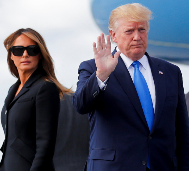 Riding the wave: Donald Trump and First Lady Melania arrive at Shannon Airport. Photo: Reuters