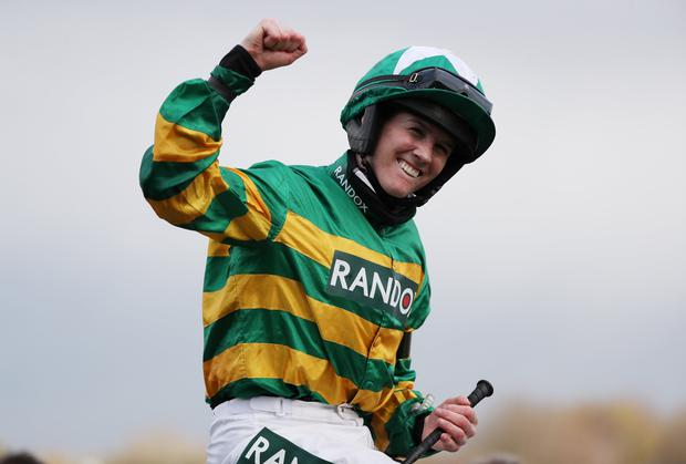 Rachael Blackmore after riding Minella Times to victory in the Aintree Grand National on Saturday, April 10. Photo: Scott Heppell/Reuters