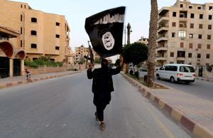 An Islamic State fighter brandishes a flag in Iraq.