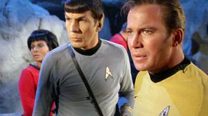 William Shatner, right, as Captain Kirk with Leonard Nimoy as Spock and Nichelle Nichols as Uhura in 'Star Trek'