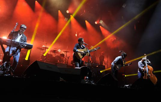 NEW YORK, NY - AUGUST 28: Mumford and Sons perform at Forest Hills Stadium on August 28, 2013 in New York City. (Photo by Stephen Lovekin/Getty Images)