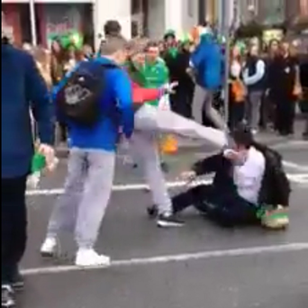 A man is kicked in the face on Dublin's Aston Quay, St Patrick's Day 2014. The incident was captured in a camera phone video which went viral.