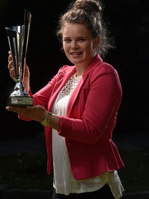 22 April 2015; Ciara Rossiter, Wexford Youths Women's AFC, winner of the Continental Tyres Young Player of the Year award, at the Continental Tyres Womens National League Annual Awards 2015. Clyde Court Hotel, Ballsbridge, Dublin. Picture credit: David Maher / SPORTSFILE