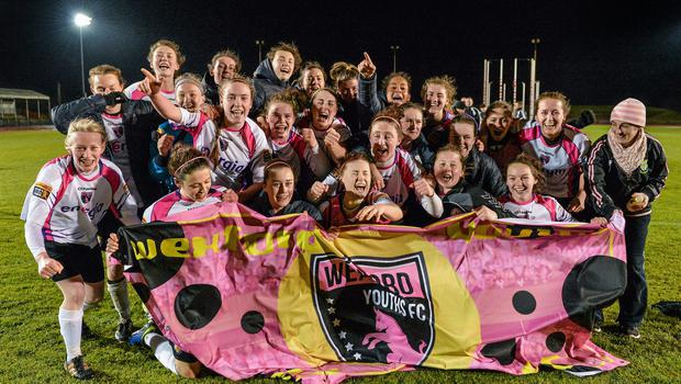 28 March 2015; Wexford Youths Womens AFC players celebrate after winning the League. Continental Tyres Women's National League, Raheny United v Wexford Youths Womens AFC, Morton Stadium, Santry, Dublin. Picture credit: Brendan Moran / SPORTSFILE
