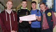 Leaving Cert Exam Students. Eoin McDonald, Lar Stoutt, John Lacey and Dylan Hynes from the CBS