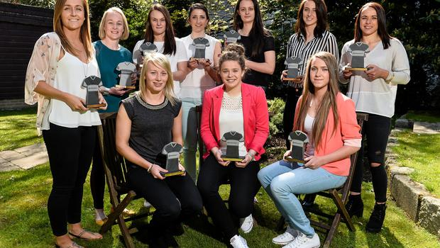 222 April 2015; Pictured at the Continental Tyres Women's National League Annual Awards 2015 were players who received their Continental Tyres Women's National League Team awards, from left, Kylie Murphy, Wexford Youths Women's AFC, Mary Rose Kelly, Wexford Youths Women's AFC, Nicola Sinnott, Wexford Youths Women's AFC, Carol Breen, Wexford Youths Women's AFC, Keara Cormican, Galway WFC, Ciara Rossiter, Wexford Youths Women's AFC, Niamh Walsh, Raheny United, Karen Duggan, UCD Waves, Claire O'Riordan, Wexford Youths Women's AFC, and Aine O'Gorman, Peamount United. Clyde Court Hotel, Ballsbridge, Dublin. Picture credit: David Maher / SPORTSFILE
