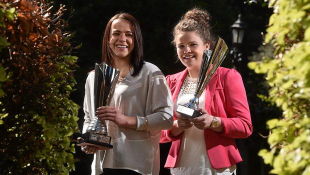 22 April 2015; Aine O'Gorman, left, Peamount United, winner of the Continental Tyres  Player of the Year award and Ciara Rossiter, Wexford Youths Women's AFC, winner of the Continental Tyres Young player of the Year award, at the Continental Tyres Womens National League Annual Awards 2015. Clyde Court Hotel, Ballsbridge, Dublin. Picture credit: David Maher / SPORTSFILE