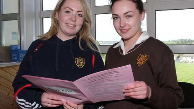 Leaving Cert Exam Students. Shauna Corrigan and Chloe Lacey Loreto