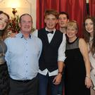 Ciaran Byrne (3rd from left) with family members Aoife, Brendan, Declan, Pauline and Eimear at Ciaran's 21st birthday party held in Cluskey's, Knockbridge