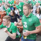 Irish fans watching the Republic of Ireland v Sweden Euro 2016 group game in Russells Saloon