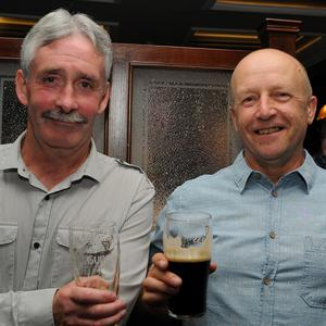 Niall McGuinness and Mickey Hoey at Pat McEntegarts retirment party in McGeoughs Bar