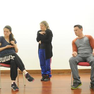 Leah Rossiter, Fiona Keenan-O'Brien and Anthony Kinahan, who are appearing in the play 'Cracks' in An Tain Arts Centre
