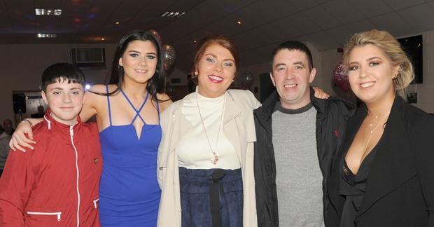 Daniel, Emma, Lisa and Eamonn Duffy, O'Hanlon Park with Seanin Downey (right), Oakland Park at Lisa's 40th birthday party in Dowdallshill GFC Community Centre