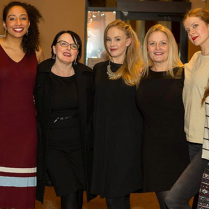 Dundalk writer Jaki McCarrick (third from left) with the cast of 'The Belfast Girls' which opened in Vancouver last week
