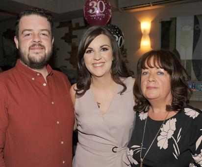 Paudie Breen, Ciara Breen and Therese Jeffers, Muirhevnamor at Ciara's 30th birthday party