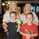 Monica and Shay Casey, with Debbie Gray and Aaron Gray Gartlan at the Quay Athletic Club presentation night in Oriel Park
