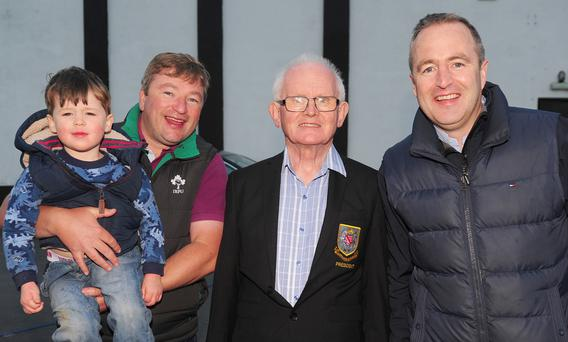Denis Cahalane, with Don, Donnan and Alan Hurst at the Tag Rugby night at Dundalk Rugby Club
