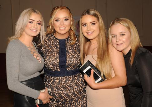 Abbie McDonald, Kate Curran, Sionán Cassidy and Chloe Dollard at Kate's 21st birthday party in the Clan na Gael GFC community centre