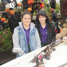 Ciara Moore and Emma Kirk at the Halloween display at Fitzpatrick's Bar and Restaurant in Rockmarshall