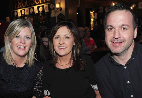 Andrea Phillips (left), Rockmarshall, with Regina and Niall Keenan, Lordship at the live performance by The Hothouse Flowers in Fergusons Bar, Gyles Quay.