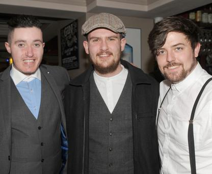 Niall MacClancy, Cian Murphy and Gerard Lawless celebrating New Year's Eve in Russells Saloon
