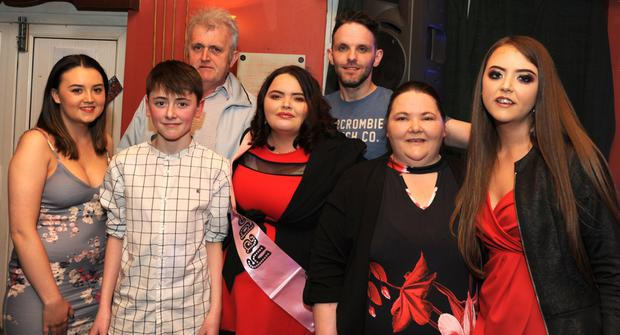 Celine Byrne-McGahon with her family members at Celine's 21st in Soraghans Bar