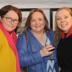 Marina Cronin, Veronica Brogan and Clodagh Tumilty at the Dundalk Photographic Society annual exhibition in The Town Hall