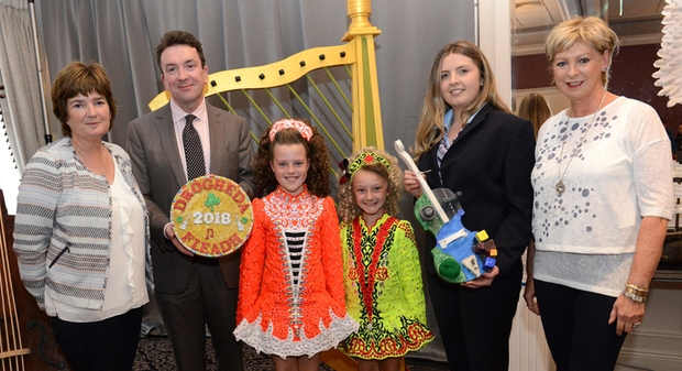 Geraldine Gilsenan Chairperson Drogheda Credit Union, Billy Doyle CEO Dundalk Credit Union, Erin Mc Cann, Tori Cuddy, Megan Hughes Dundalk Credit Union and Sheena Kierans Vice Chairperson Drogheda Credit Union at the Fleadh Cheoil Na hEireann official launch at the Westcourt Hotel