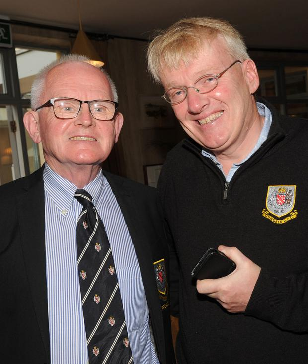 Denis Cahalane and Derek Williams at the Dundalk Rugby Club Golf Classic presentation night in the Ballymascanlon House Hotel