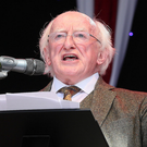 President Higgins speaking at the official opening of Fleadh Cheoil na hÉireann in Drogheda's Bolton Square on Sunday